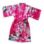Yiarton Peignoir Enfant Motif Exotique Paon Fleur Kimono Soie Cardigan Robe de Chambre Fille Satin de la marque Yidarton image 4 produit
