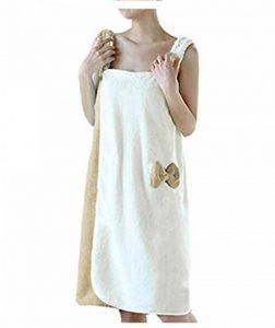YJZQ Robe de Bain pour Femme Serviette sans Bandeau Cheveux Serviette de Bain Peignoir de Douche Peignoir éponge Séchage Rapide pour Baigner Sauna de la marque YJZQ image 0 produit