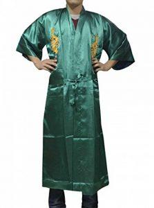 YL Homme Peignoir de Bain Kimono Souple Robe de Chambre Vêtement de Nuit Bordé de Dragon avec Ceinture 6 Couleurs de la marque YL image 0 produit