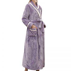 Yvelands Peignoir De Luxe Robe Longue Section Femme&Homme/Couple Pyjamas Deux Poches Ceinture ÉPissage Couleur Manches Longues ÉPaissir Bathrobe 5 Couleurs 3 Tailles de la marque Yvelands image 0 produit