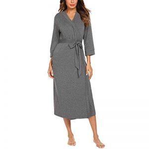 ZEELIY Peignoirs Femme Coton, Kimono Peignoir de Bain pour Femme Vêtements De Nuit avec 2 Poches Manches Longues Doux et Confortable, pour l'hôtel pa Baignade de la marque ZEELIY image 0 produit