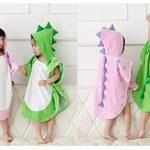 Zinsale Bande dessinée enfants capuche plage serviette de bain coton doux poncho de bain enfants dinosaure peignoir couverture (Vert, 70x140cm) de la marque Zinsale image 2 produit