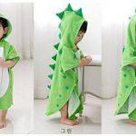 Zinsale Bande dessinée enfants capuche plage serviette de bain coton doux poncho de bain enfants dinosaure peignoir couverture (Vert, 70x140cm) de la marque Zinsale image 1 produit