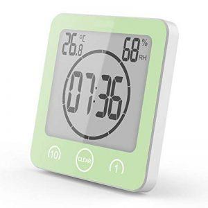 ZXS Réveil électronique 1-10 Minutes Compte à rebours étanche Salle de Bains Horloge électronique Horloge Murale thermomètre et hygromètre Support à Ventouse (Vert) de la marque ZXS image 0 produit